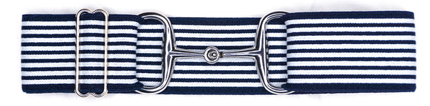 "Navy Stripes - 2"" Silver Snaffle Elastic Belt"