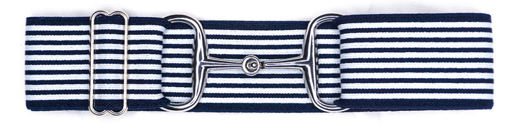"Navy Stripes - 2"" Silver Snaffle"