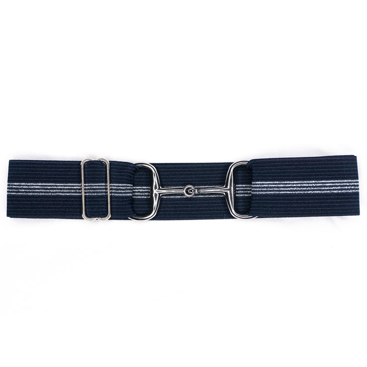 "Navy & Silver Stripes - 1.5"" Silver Snaffle Elastic Belt"