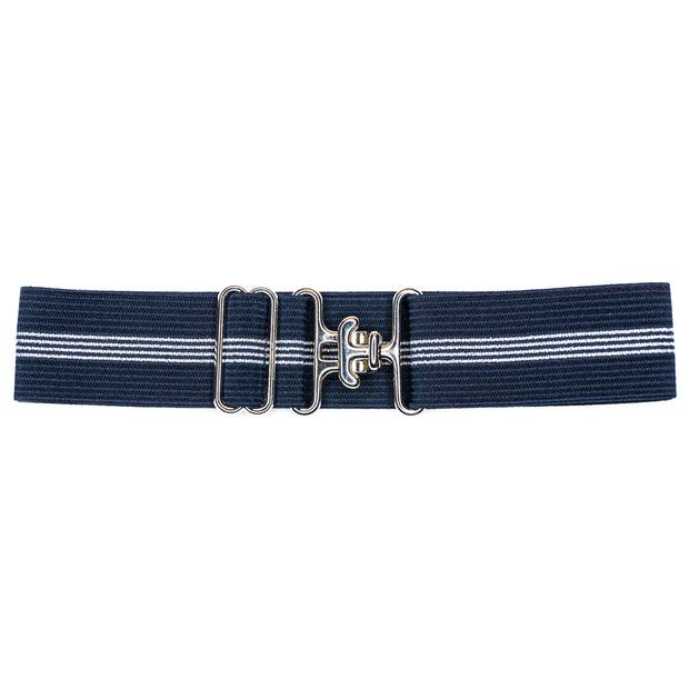 "Navy & Silver Stripes - 1.5"" Silver Surcingle Elastic Belt"