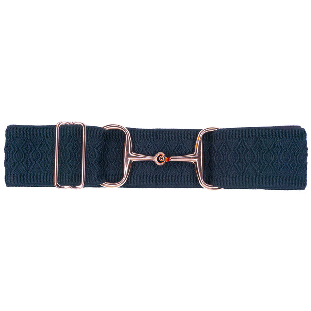 "PREORDER Navy Diamonds - 2"" Rose Gold Snaffle Elastic Belt"