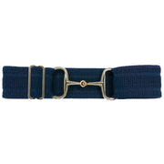 "Navy Herringbone - 2"" Gold Snaffle Elastic Belt"