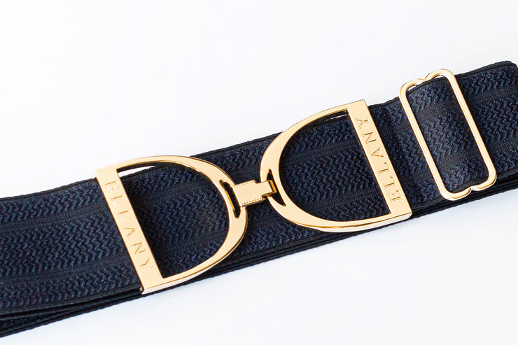 "Navy Herringbone - 2"" Gold Stirrup Elastic Belt"
