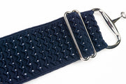 "Navy Waves - 2"" Silver Snaffle Elastic Belt"