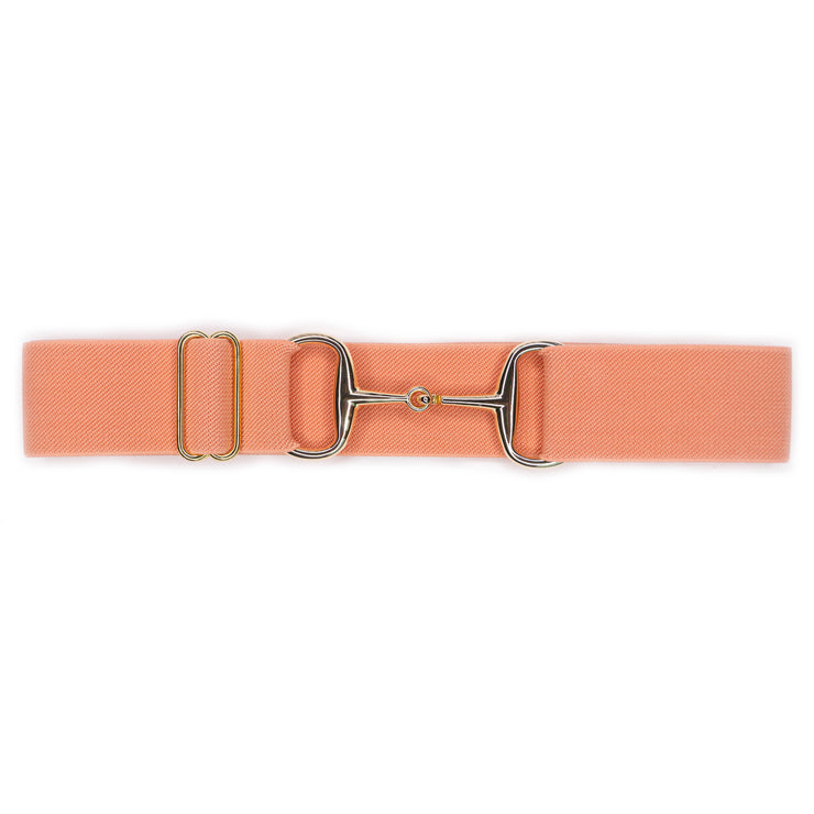 "Peach - 1.5"" Gold Snaffle Elastic Belt"