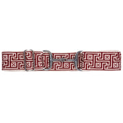 "Red Jacquard - 1.5"" Silver Snaffle Elastic Belt"