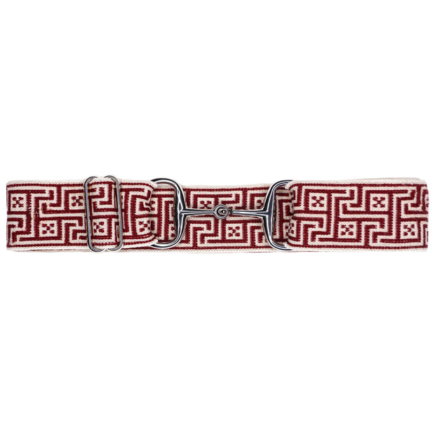 "Red Jacquard - 1.5"" Silver Snaffle"