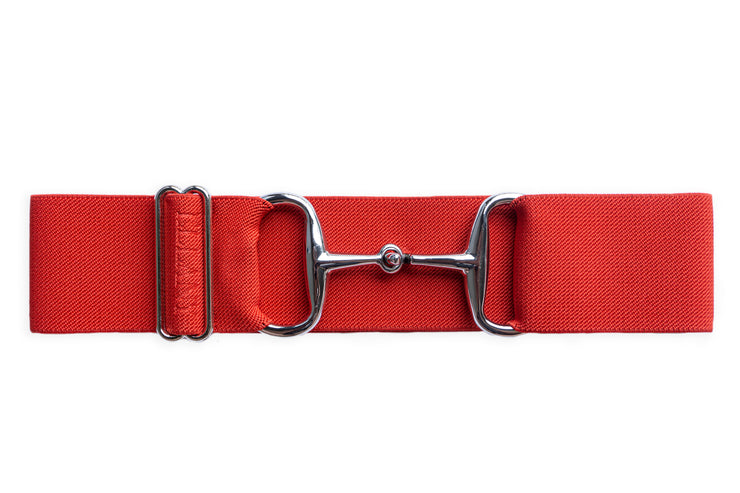 "Red - 2"" Silver Snaffle Elastic Belt"