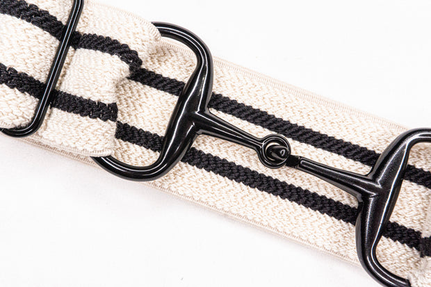 "Striped Canoso - 1.5"" Black Snaffle Elastic Belt"