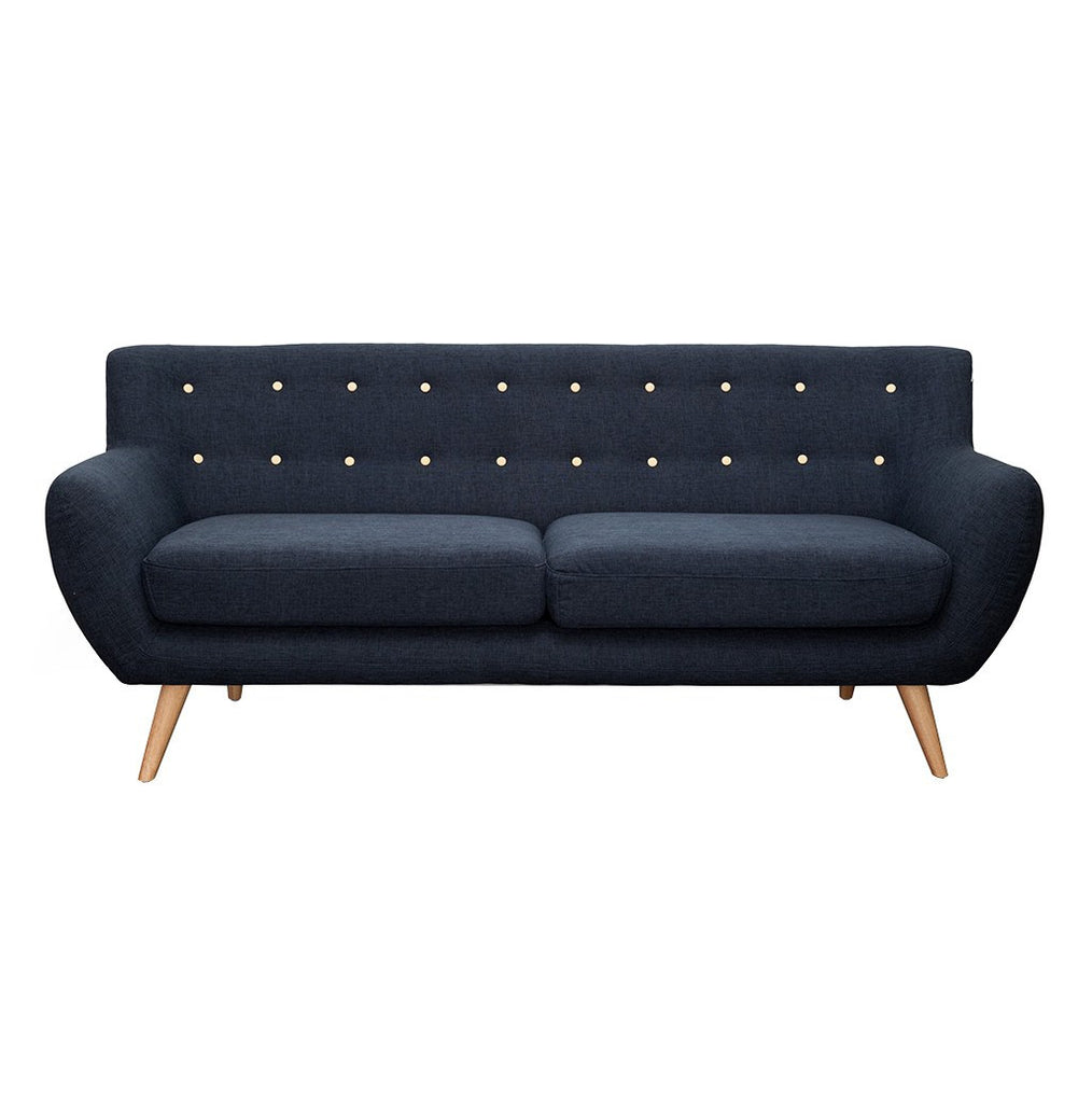 Yellow Buttons 3 Seater Sofa Slate - Workspace Luxe