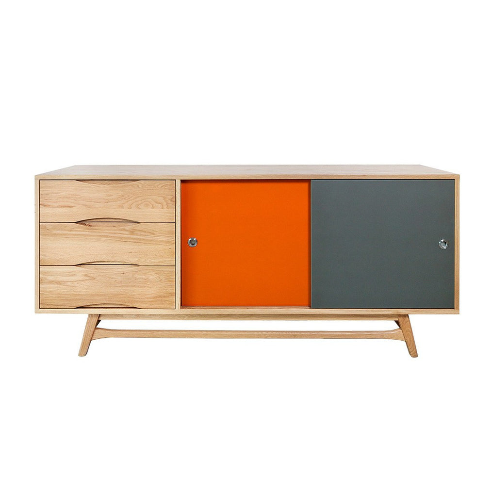 Oak Sideboard with Reversible Coloured Doors - Workspace Luxe