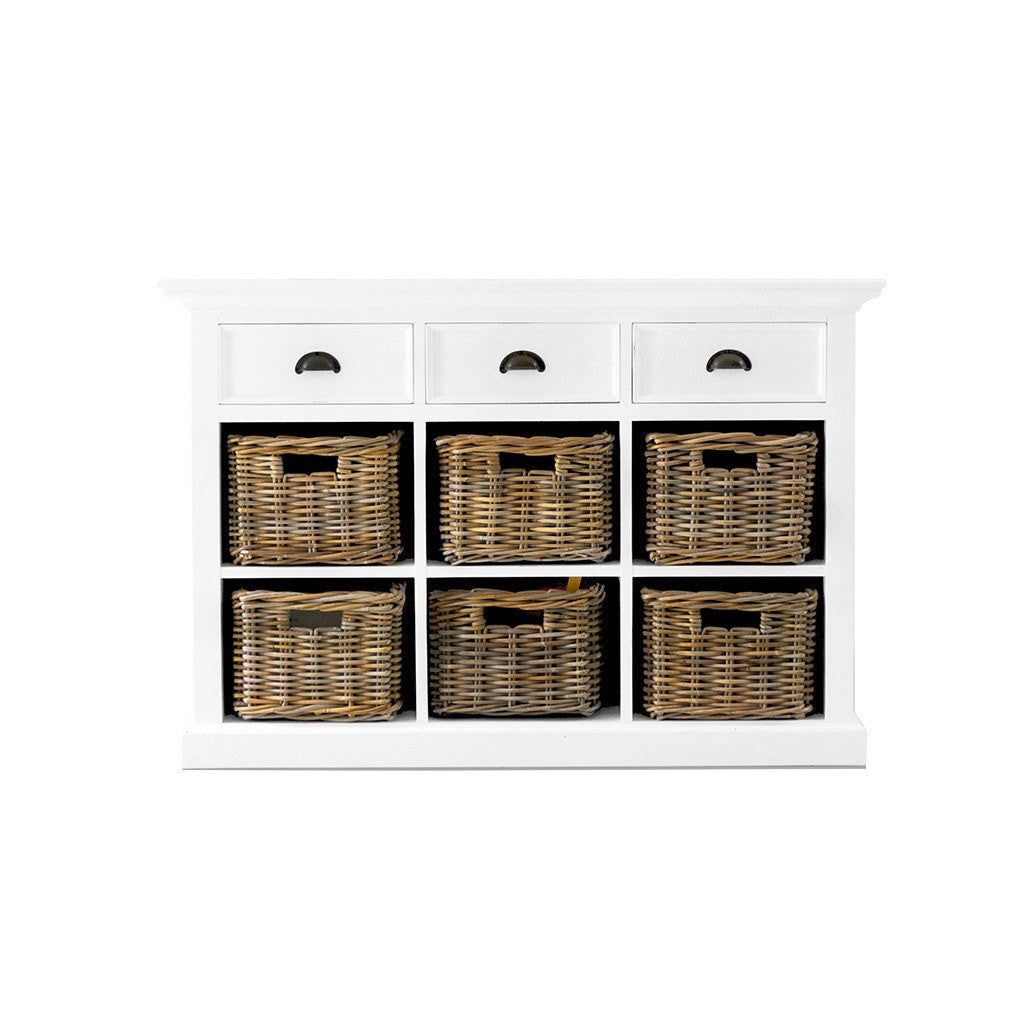 Hamptons Halifax White Storage Buffet with Drawers & Baskets - Workspace Luxe