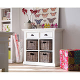 Hamptons Halifax Small White Buffet with Drawer & Baskets - Workspace Luxe