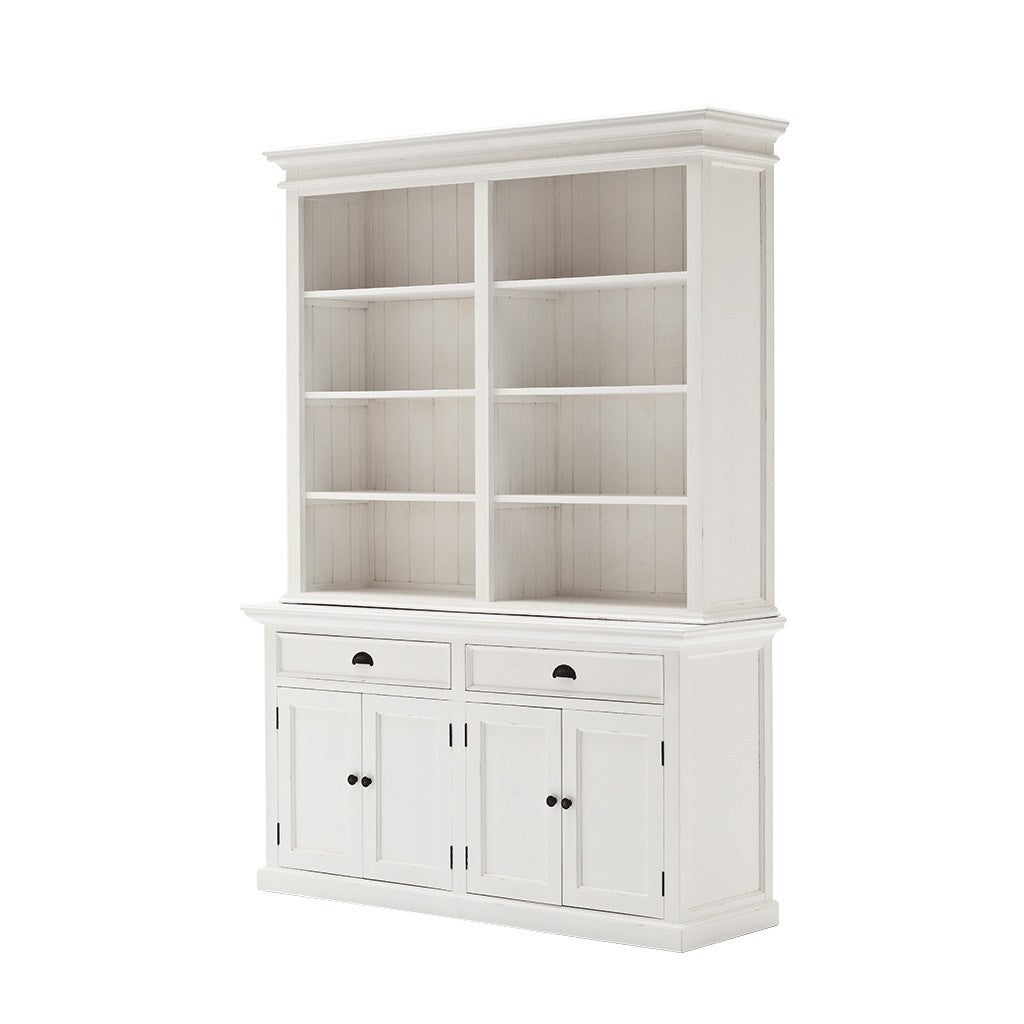 Hamptons Halifax White Timber Hutch Storage Unit - Workspace Luxe
