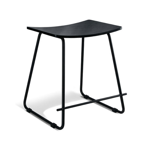 Black Oak Stool with Black Frame (Set of 2) - Workspace Luxe