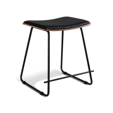 Black Stool with Black Cushion Seat (Set of 2) - Workspace Luxe