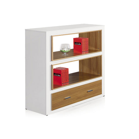 Archer Office Display Unit - Beech & White - Workspace Luxe