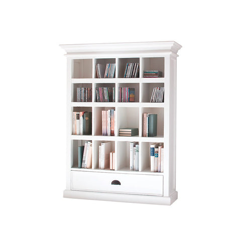Hamptons Halifax White Timber Display Storage Unit - Workspace Luxe