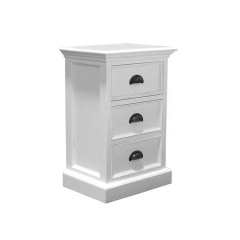 Hamptons Halifax White Storage Unit with 3 Drawers - Workspace Luxe