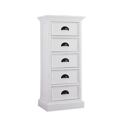 Hamptons Halifax White Timber Storage Unit with 5 Drawers - Workspace Luxe