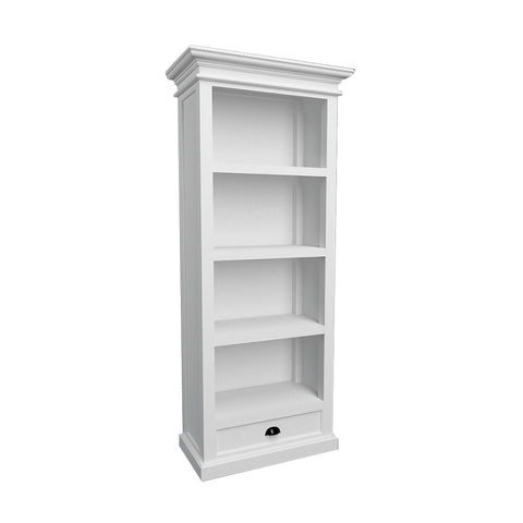Hamptons Halifax White Timber Bookshelf with Single Drawer - Workspace Luxe