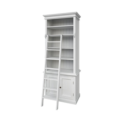 Hamptons Halifax White Timber Slim Hutch Bookcase - Workspace Luxe