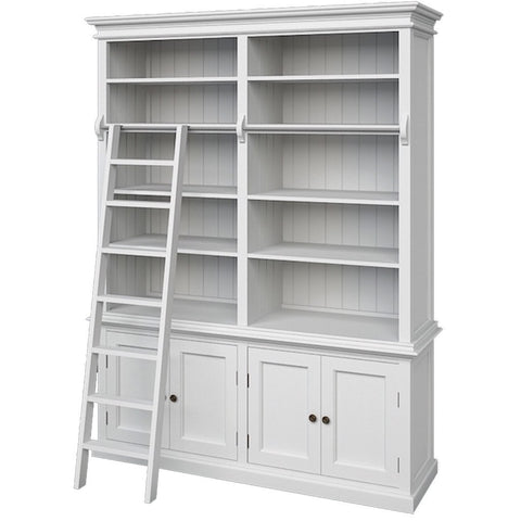 Hamptons Halifax White Timber Hutch Bookcase - Workspace Luxe