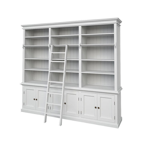 Hamptons Halifax White Timber Hutch Bookcase- Large - Workspace Luxe