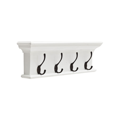 Hamptons Halifax White Wall Mounted Coat Rack - 4 Hook - Workspace Luxe
