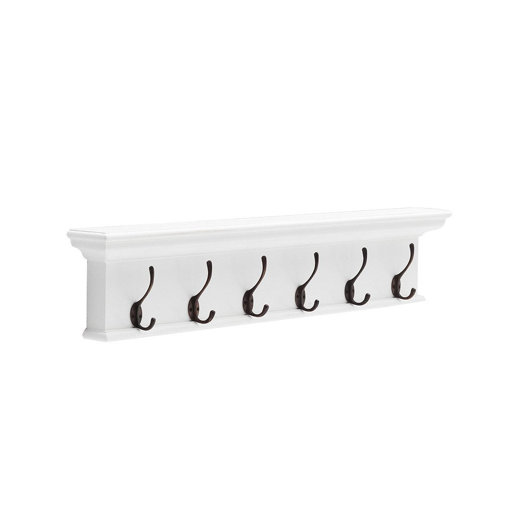Hamptons Halifax White Wall Mounted Coat Rack - 6 Hook - Workspace Luxe