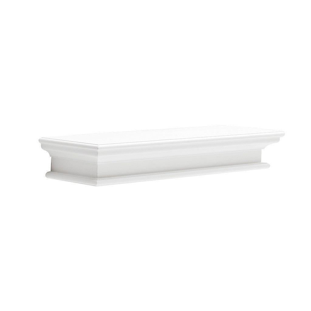 Hamptons Halifax White Timber Floating Shelf - 80mm - Workspace Luxe