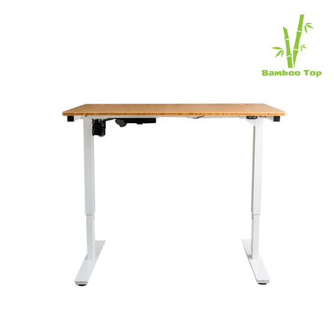 Bamboo Single Motor Large Electric Standing Desk in White - Workspace Luxe