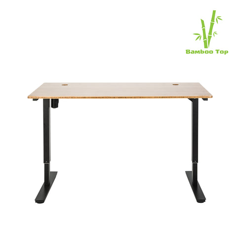 Bamboo Single Motor Large Electric Standing Desk in Black - Workspace Luxe