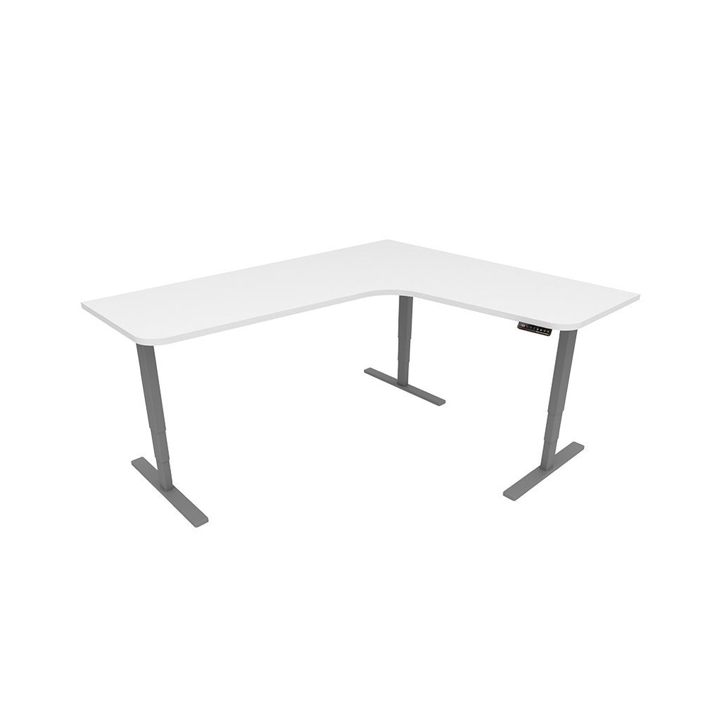 Executive Electronic Height Adjustable Ergonomic Desk –  White / Grey - Workspace Luxe
