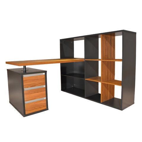 Niven Workstation With Display Cabinet - Workspace Luxe
