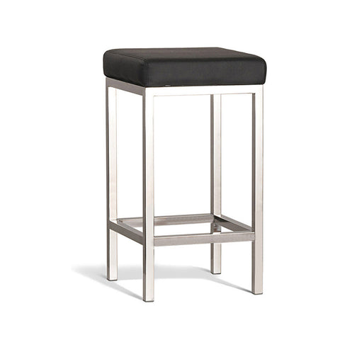 Modern Black Stool with Polish Frame 650mm (Set of 2) - Workspace Luxe