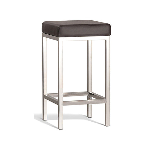 Modern Brown Stool with Polish Frame 650mm (Set of 2) - Workspace Luxe