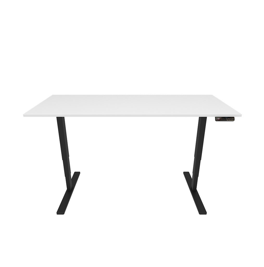 Electronic Height Adjustable Ergonomic Desk – White Top / Black Legs - Workspace Luxe