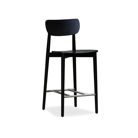 Scandinavian Black Timber Stool 650 - Workspace Luxe