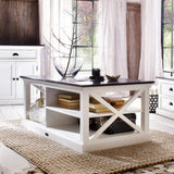 Hamptons Halifax White Timber Coffee Table - Dark Top - Workspace Luxe