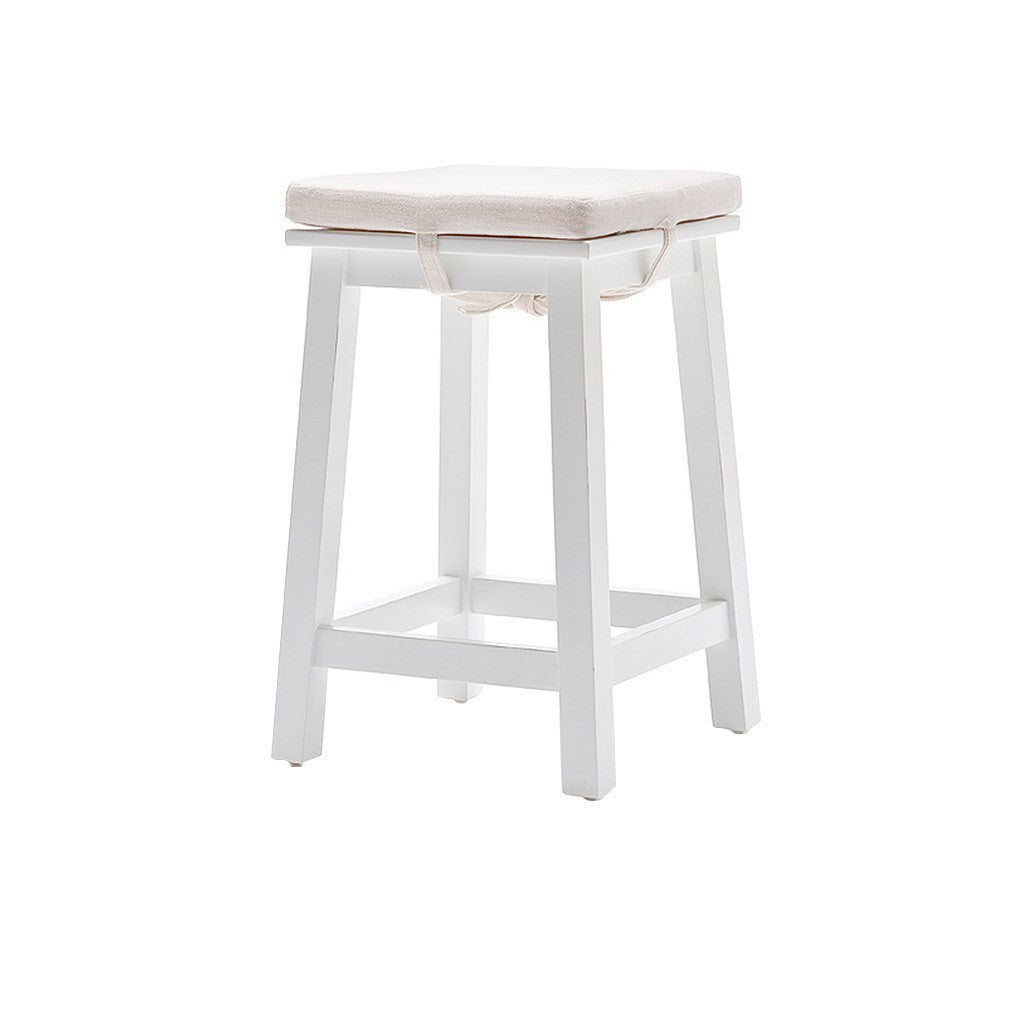 Hamptons Halifax White Stool with Cushion - Workspace Luxe