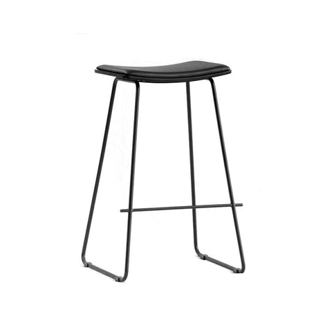 Tall Black Stool with Black Cushion Seat (Set of 2) - Workspace Luxe