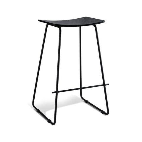 Tall Black Stool with Black Frame (Set of 2) - Workspace Luxe