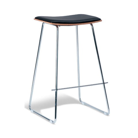 Tall Chrome Stool with Black Cushion Seat (Set of 2) - Workspace Luxe