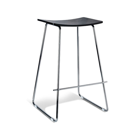 Tall Chrome Stool with Black Seat (Set of 2) - Workspace Luxe