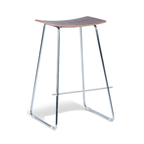 Tall Chrome Stool with Walnut Seat (Set of 2) - Workspace Luxe