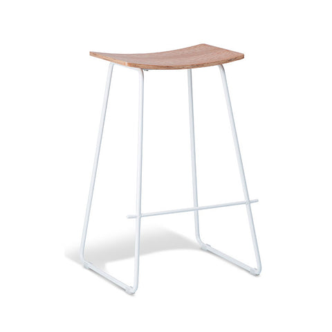 Tall Natural Stool with White Frame (Set of 2) - Workspace Luxe