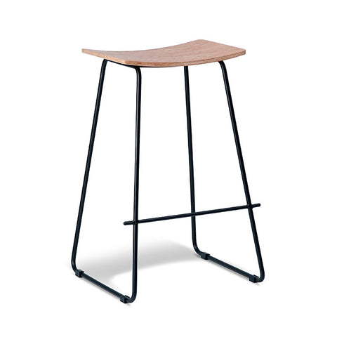 Tall Oak Stool with Black Frame (Set of 2) - Workspace Luxe
