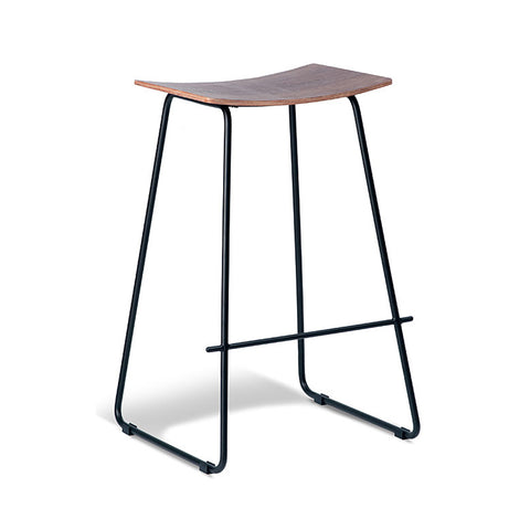Tall Walnut Stool with Black Frame (Set of 2) - Workspace Luxe