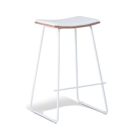 Tall White Stool with White Cushion Seat (Set of 2) - Workspace Luxe
